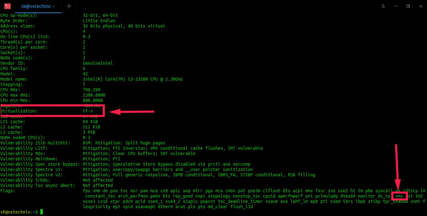 Find if a CPU supports virtualization using lscpu command in Linux