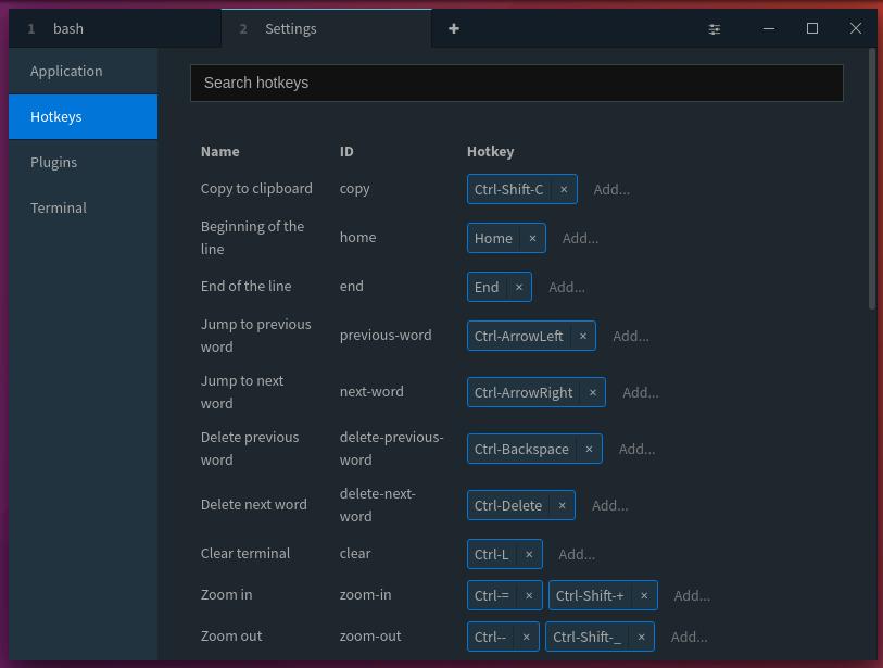 Keyboard shortcuts for Terminus Terminal