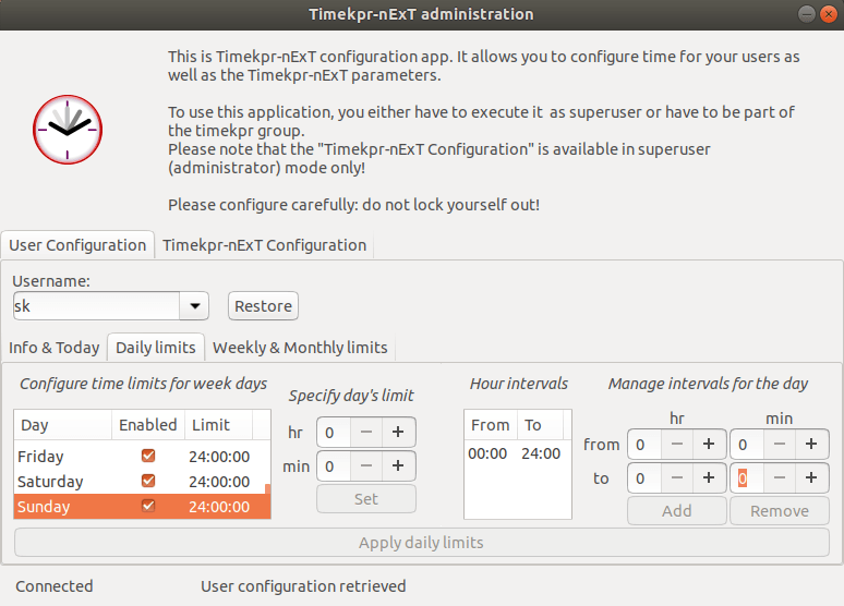 Timekpr daily limits configuration