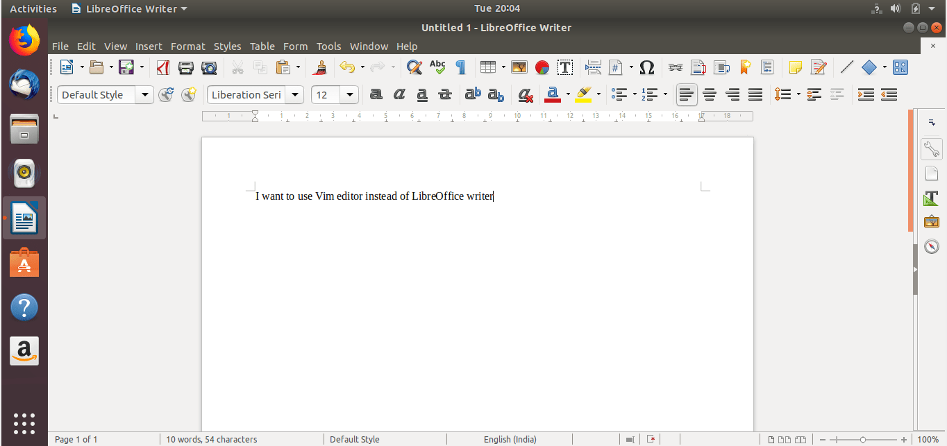 Use Vim editor to input text in Libreoffice