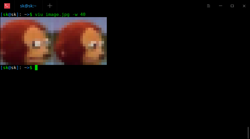 Display custom size image using Viu