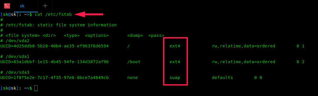 Find The Mounted Filesystem Type In LinuxUsing fstab Command