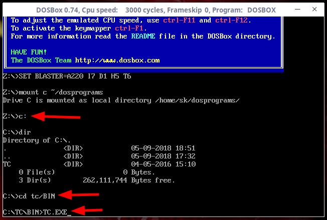 Run turbo c++ in dosbox