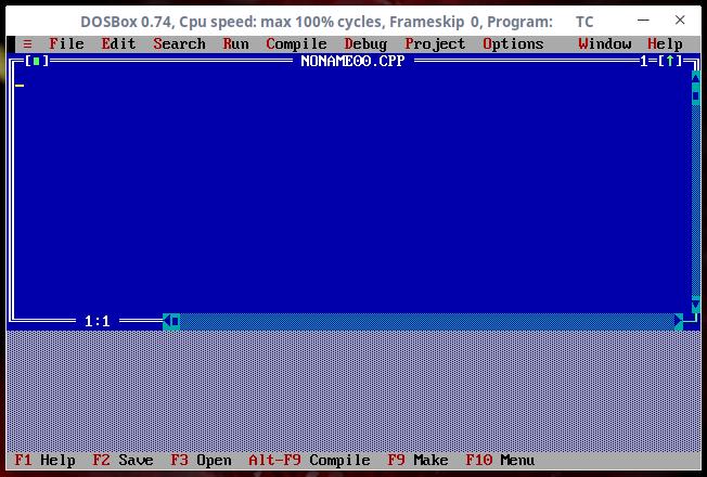 Turbo C++ console