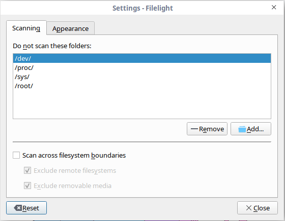 filelight settings