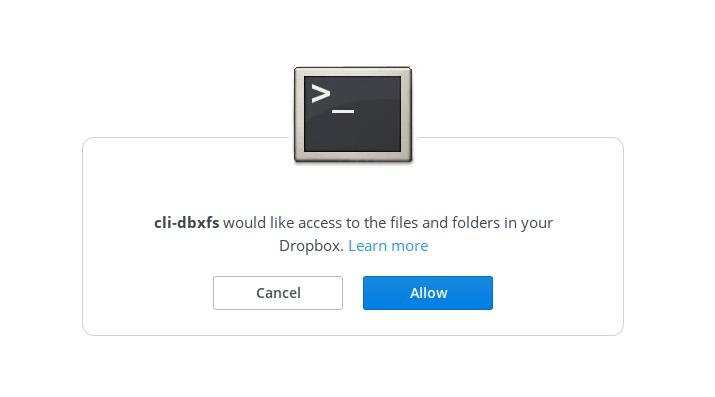 Authorize dropbox