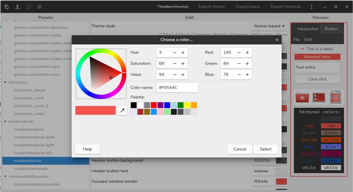 Color Customization Using Oomox