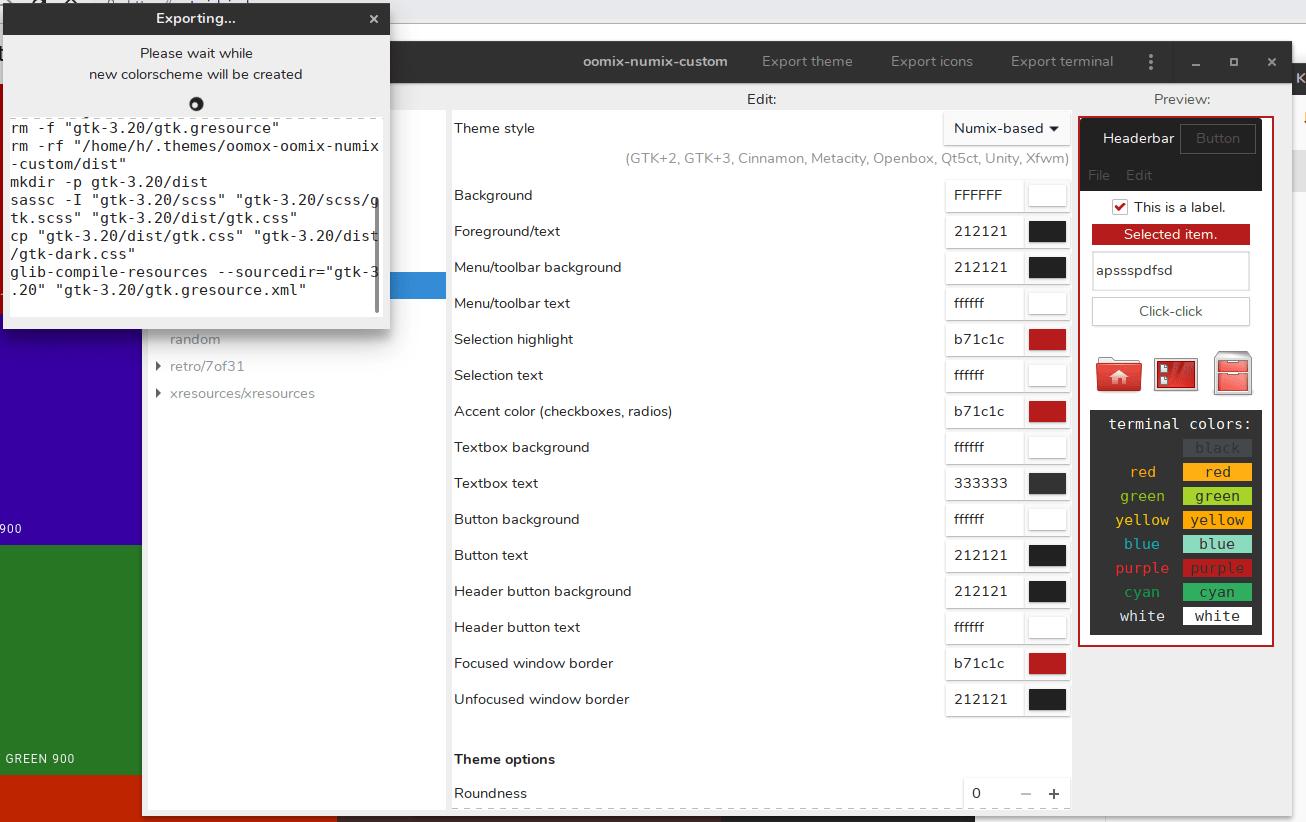 Export theme using Oomox