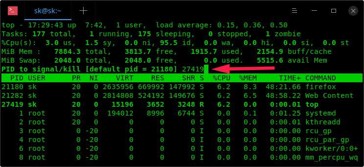 Kill running processes using top command