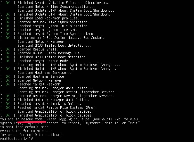 Boot Into Rescue Mode In Ubuntu 20.04