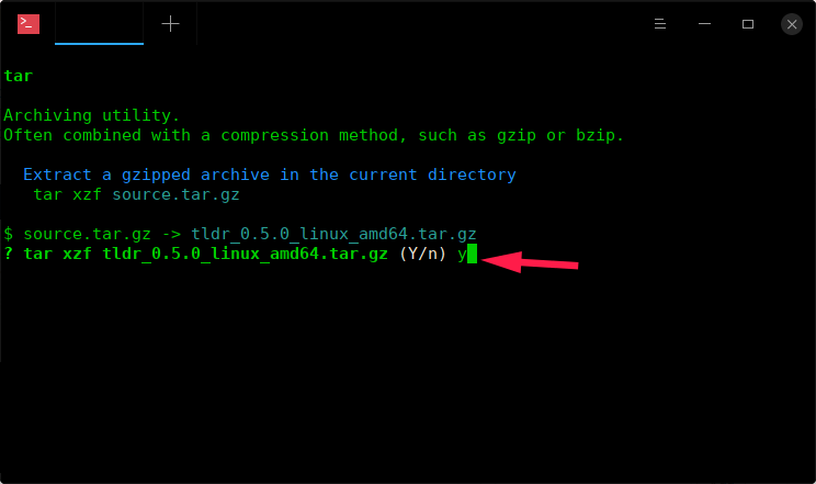 Confirm to extract the tar file