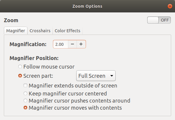 Magnify Screen Areas On Linux Desktop Using Universal Access menu