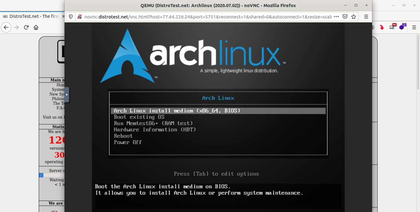 Try Arch Linux online with DistroTest