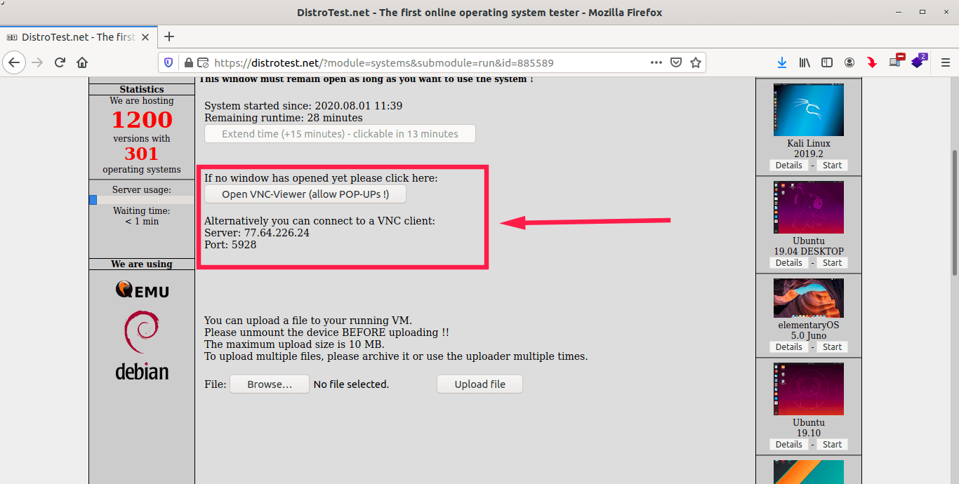 VNC client login details to access VMs in DistroTest
