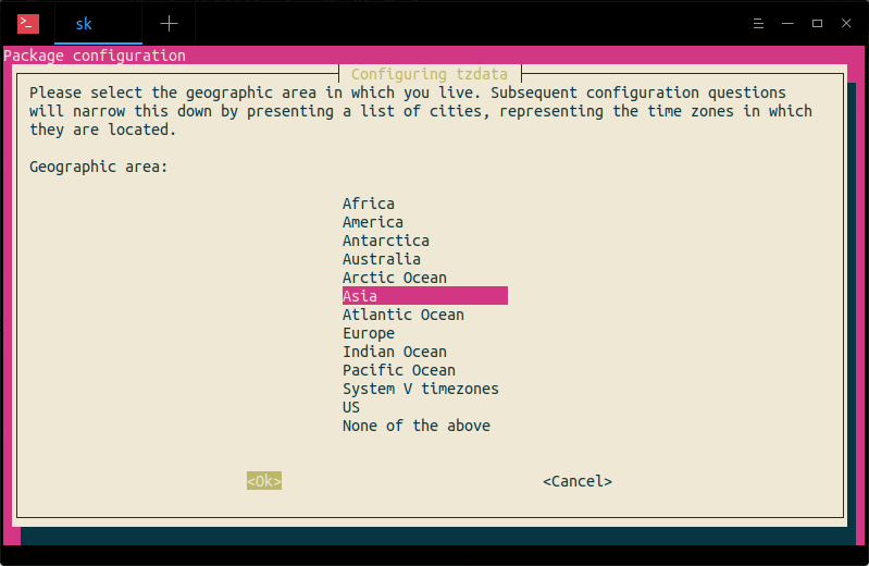 configure time zone using tzdata command