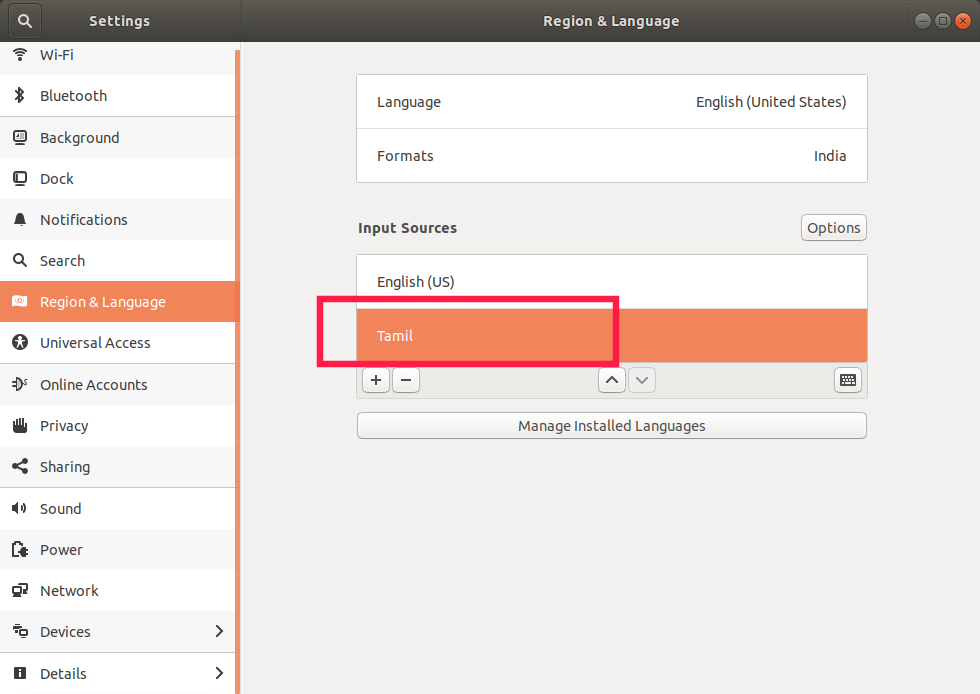 Input sources Ubuntu
