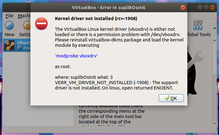 Kernel driver not installed (rc=-1908) virtualbox ubuntu