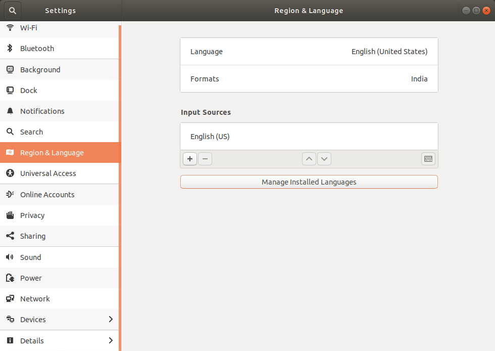 Region & language in Settings ubuntu