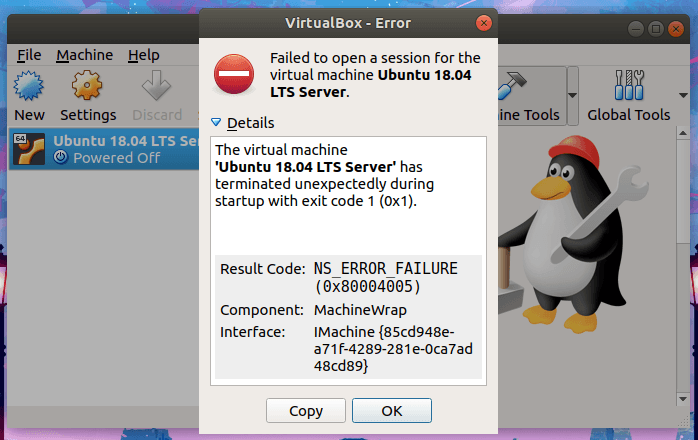 The virtual machine Ubuntu has terminated unexpectedly during startup with exit code 1 (0x1)