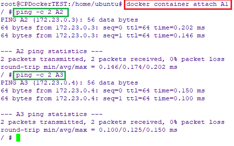 Attach and ping containers