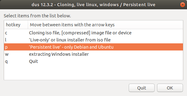 Choose Persistent live - only Debian and Ubuntu option
