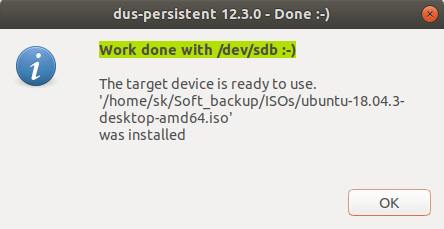 Creating Persistent Live USB using mkusb is completed