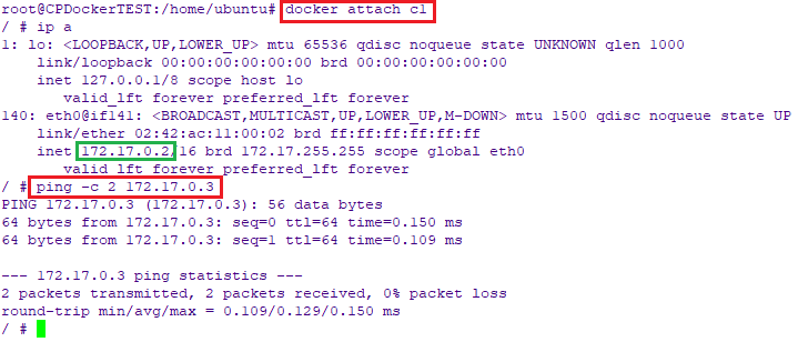 Attach to C1 Container and Ping C2 container