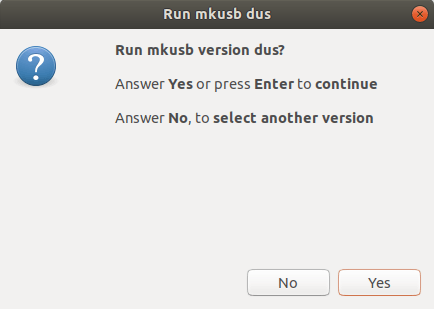 Run mkusb version dus