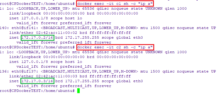 Show container's ip address