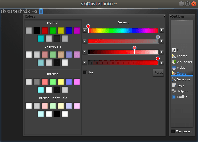 Terminology color settings