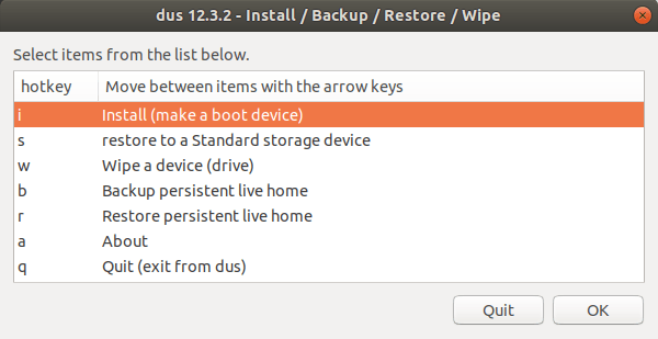 make boot device using mkusb