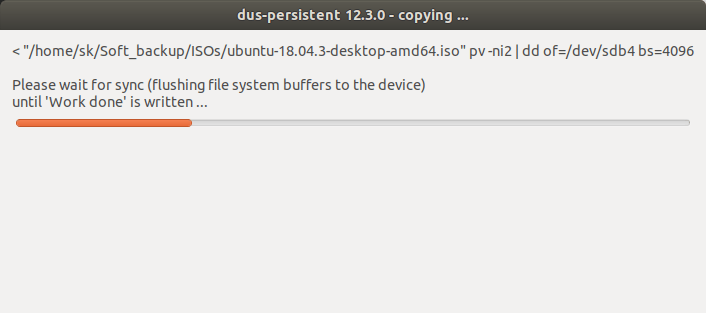persistence live usb creation with mkusb in progress