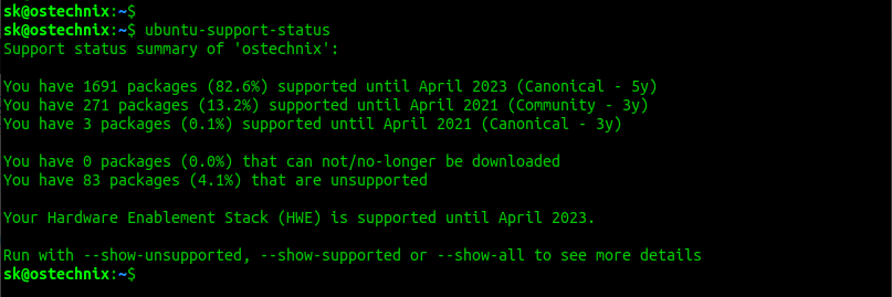 ubuntu support status on desktop