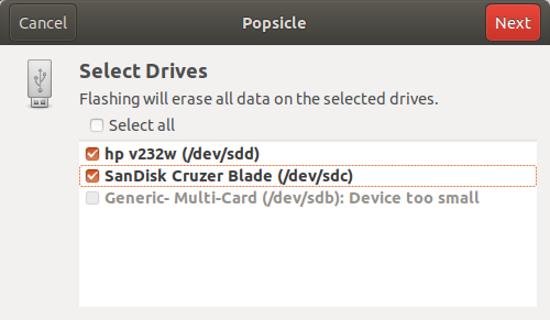 Choose USB devices to flash using Popsicle