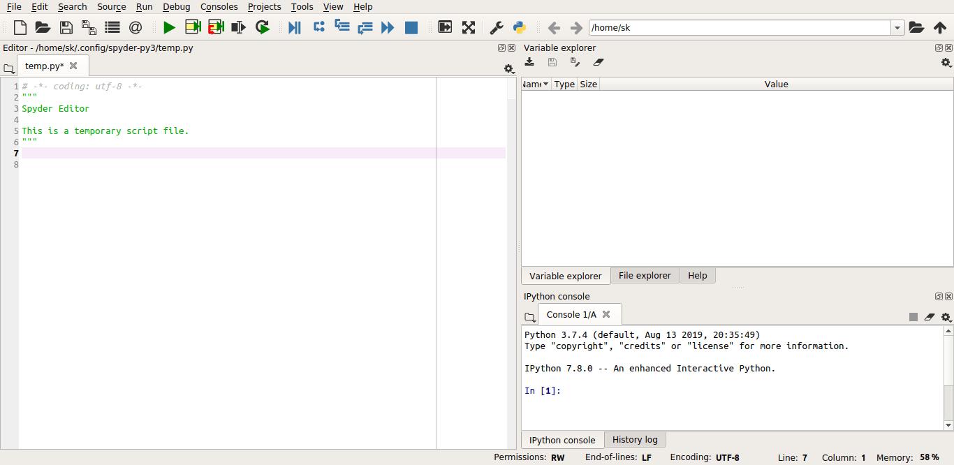 Spyder IDE interface