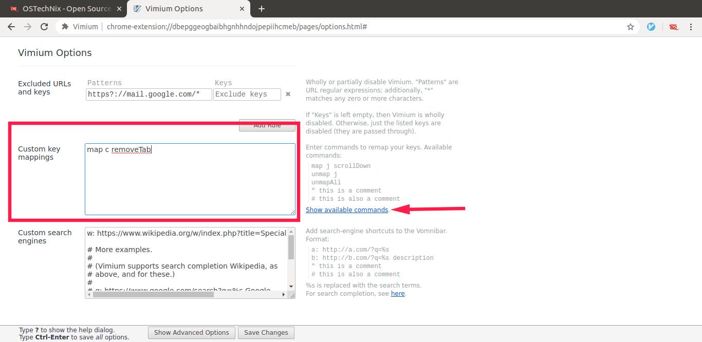 Set custom key mappings in Vimium