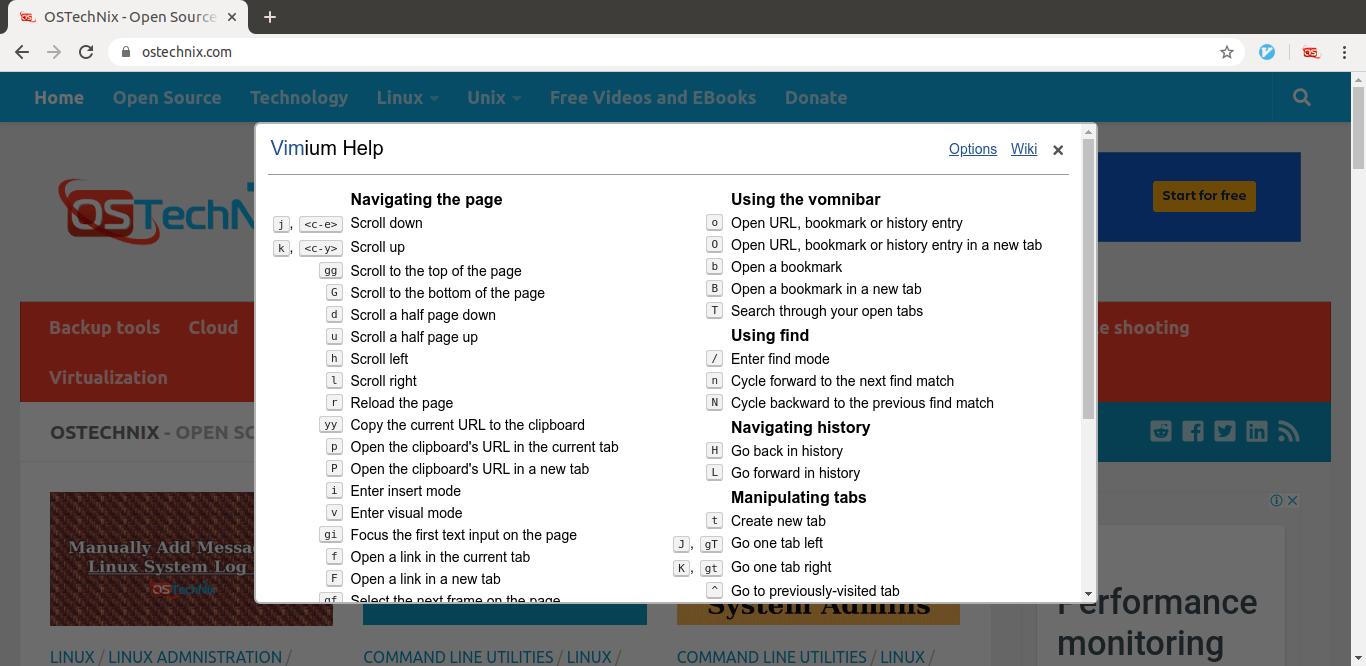Vimium help menu