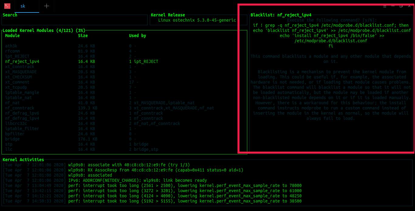 Blacklist kernel modules with Kmon