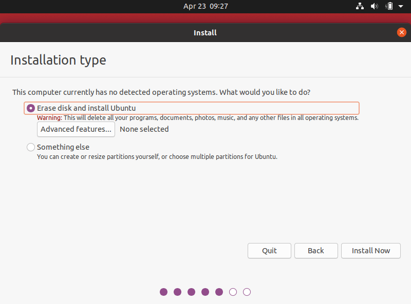 Choose Installation Type In Ubuntu