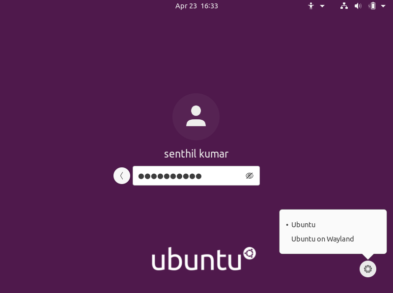 Log in to Ubuntu 20.04 LTS Desktop