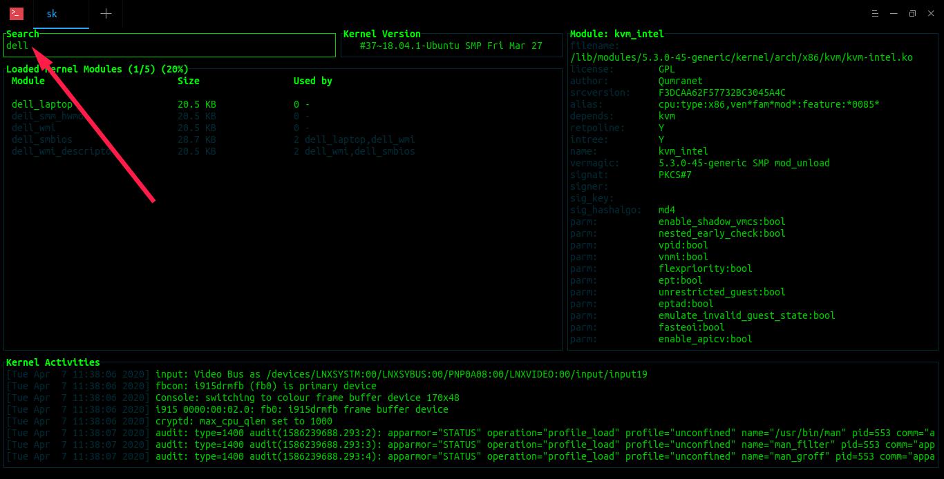 Search kernel module in Kmon