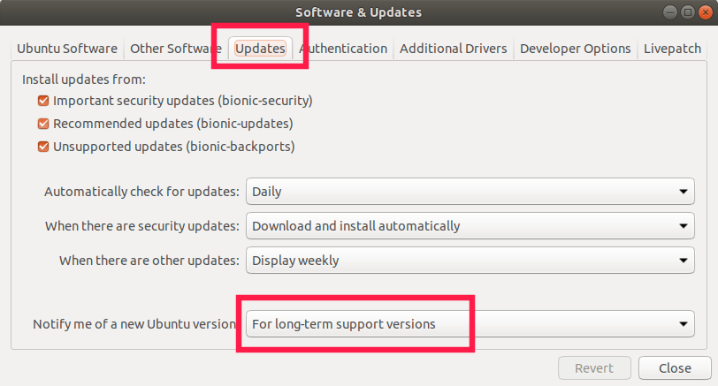 Setup Ubuntu update source for LTS versions