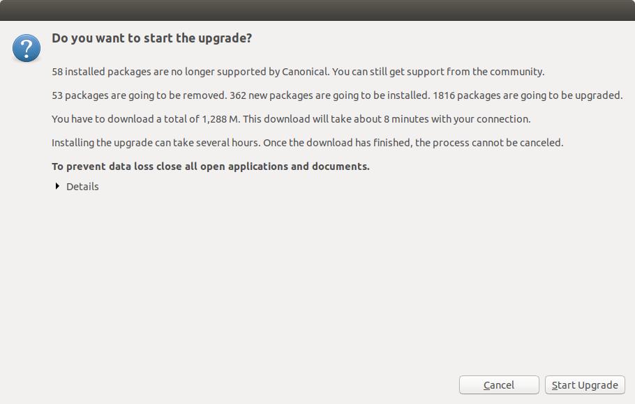Start Ubuntu 20.04 Upgrade