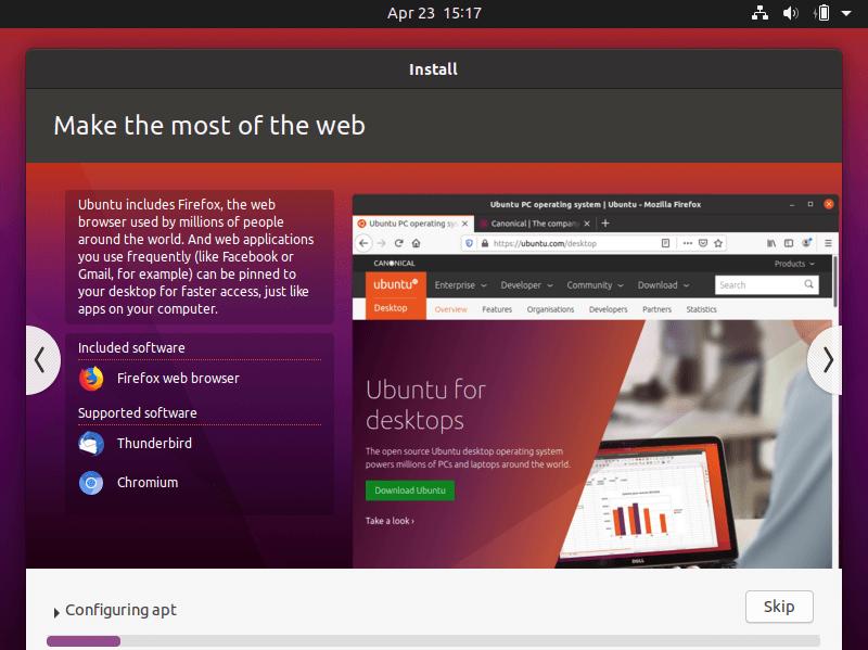 Start installing Ubuntu 20.04 LTS Desktop