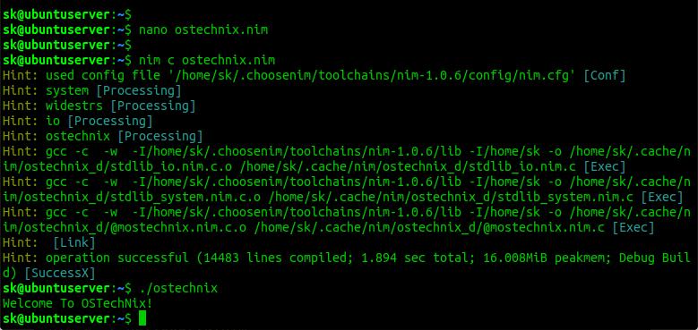 Test Nim Programming language