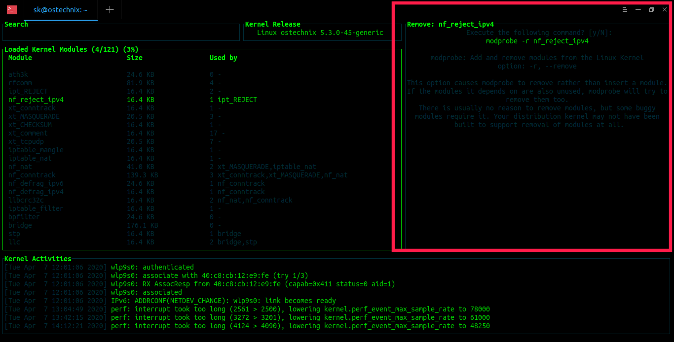 Unload modules from Linux kernel with Kmon