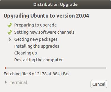 Upgrading ubuntu to version 20.04