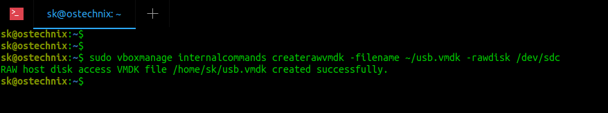 Create new vmdk file using vboxmanage command