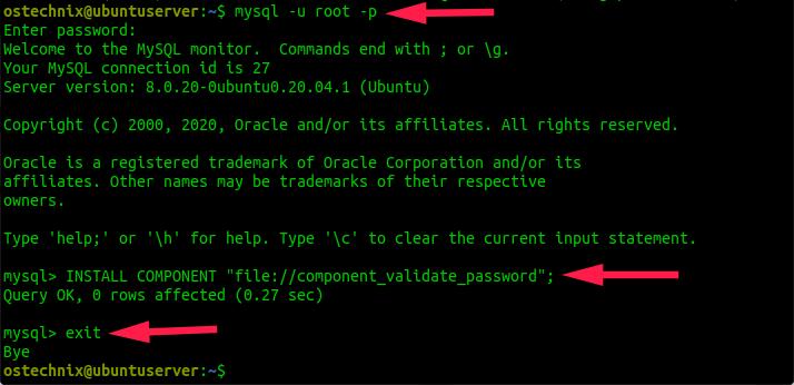 Enable the Validate Password plugin in MySQL