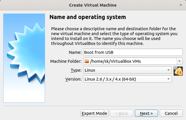 Enter virtual machine details in virtualbox